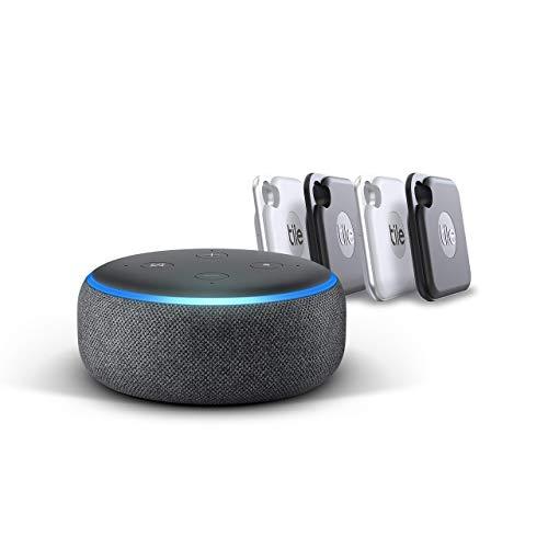 Tile Pro (2020) - 4 er Pack + Echo Dot (3. Gen.) Intelligenter Lautsprecher mit Alexa, Anthrazit Stoff
