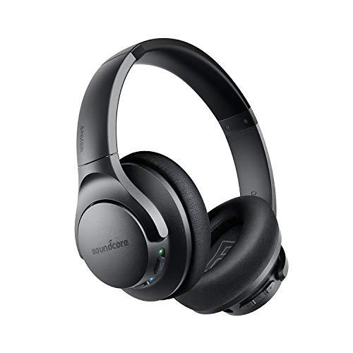 Soundcore Life Q20 Bluetooth Kopfhörer, Aktive Geräuschunterdrückung, 40 St. Wiedergabezeit, Hi-Res Audio, Intensiver Bass, kabellose Kopfhörer für Homeoffice, Online-Unterricht, Konferenzen (Black)