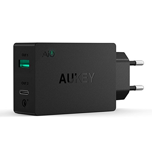 AUKEY USB C Ladegerät Duale Ports USB Netzteil mit AiPower Technologie 5V 2,4A für iPhone X / 8 / 8 Plus, iPad Air / Pro, Samsung, HTC, LG und andere Geräte