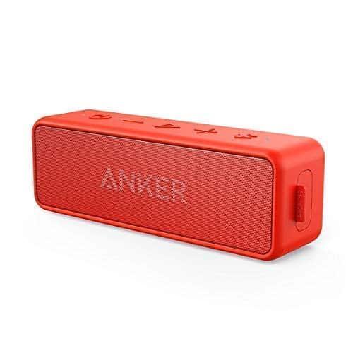 Anker SoundCore 2 Bluetooth Lautsprecher mit Dual Treiber Bass, 24h Spielzeit, 20m Reichweite, IPX5 Wasserfest mit Eingebauten Mikrofon, Kabelloser Lautsprecher für iPhone, Samsung usw.(Rot)