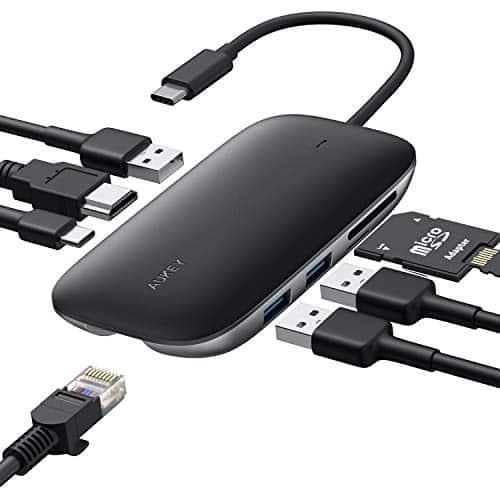AUKEY USB-C Hub 8 in 1 USB Type C Hub mit Ethernet Port, USB C auf 4K HDMI, 3 USB 3.0 Ports, 100W USB C PD Ladeanschluss, TF Micro SD Kartenleser für MacBook Pro Air, Chromebook Pixel, USB C Laptops