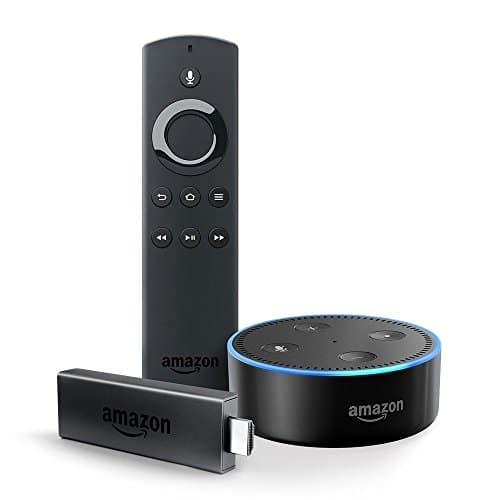 Fire TV Stick mit Alexa-Sprachfernbedienung (1. Generation) + Echo Dot (2. Generation), Schwarz