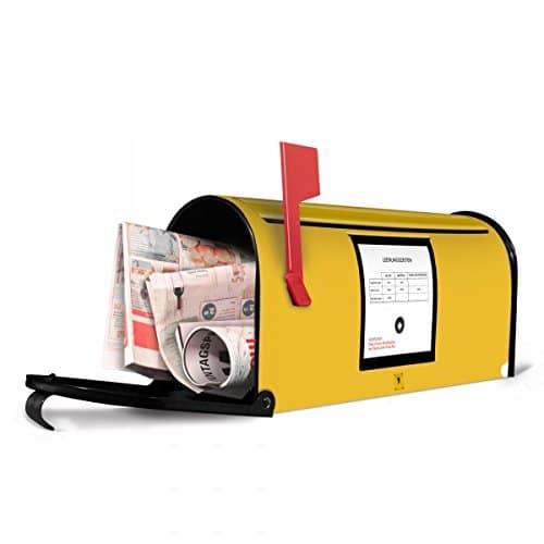 banjado - Amerikanischer Briefkasten 17x22x51cm US Mailbox mit Motiv Briefkasten Gelb
