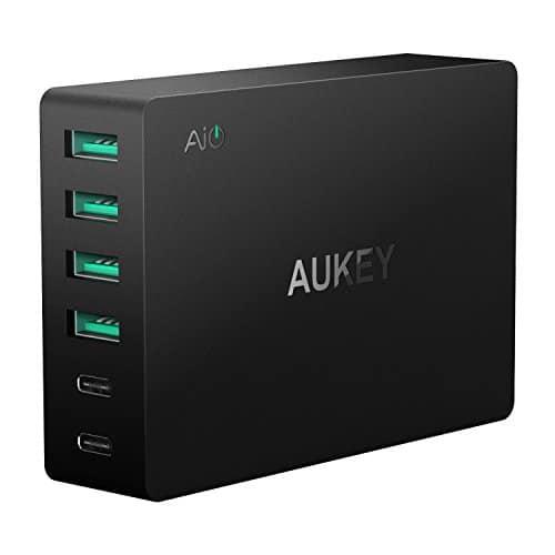 AUKEY USB C Ladegerät 6 USB Ports 60W USB Netzteil für Samsung Galaxy Note / S8 / S7, Nexus 5X / 6P, LG G5 / G6, HTC 10, iPhone X / 8/8 Plus, iPad Air/iPad Pro usw.