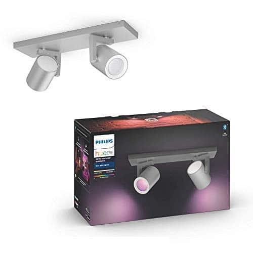 Philips Hue White & Col. Amb. LED 2-er Spot Argenta, aluminium, dimmbar, 16 Mio. Farben, steuerbar via App, kompatibel mit Amazon Alexa (Echo, Echo Dot)