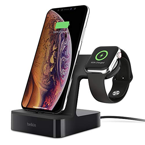 Belkin PowerHouse Ladestation für Apple Watch und das iPhone (iPhone Ladestation für iPhone 11, 11 Pro/Pro Max, XS, XS Max, XR, X, SE, 8/8 Plus und andere Modelle, Apple Watch Series 5, 4, 3, 2, 1)