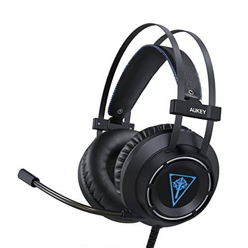AUKEY Gaming-Headset, ohraufliegender Kopfhörer mit verstärktem Bass, flexiblem Mikrofon, Bügelbandautomatik und LED-Beleuchtung für PC, PS4 und Xbox