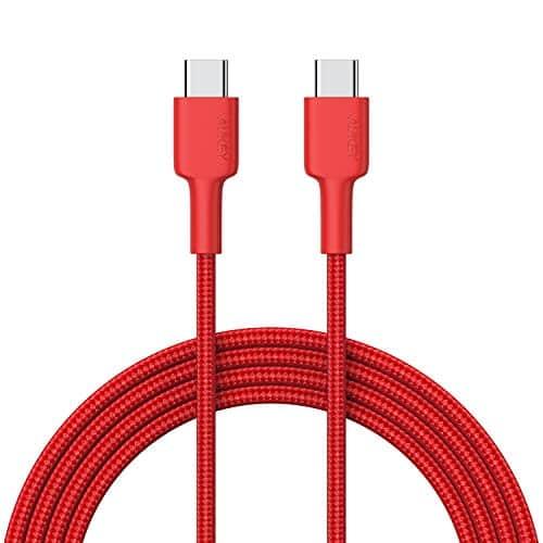 AUKEY USB C Kabel auf USB C 2m Aramidfaser Nylon umgeflochtenes Ladekabel und Datenkabel für Samsung Galaxy Note 9 8 S10 S10+ S10e S9 S8, Huawei P10, MacBook Air, iPad Pro 2018, MacBook Pro - Rot