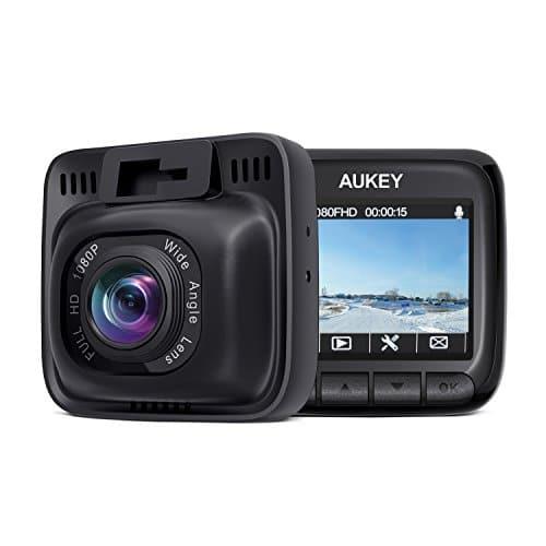 AUKEY Dashcam Full HD 1080P Autokamera mit 170° Weitwinkel, Superkondensator, WDR Nachtsicht Dashcam mit G-Sensor Bewegungserkennung, Loop-Aufnahme und Dual-Port Kfz-Ladegerät