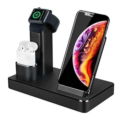 3 in 1 Ladestation Stand für Apple Watch AirPods iPhone, Aluminium Induktive Qi Ladestation, 7.5W Fast Wireless Charger für iPhone X/XS/Max/XR/8/Plus, 10W Induktions Ladegerät für Samsung