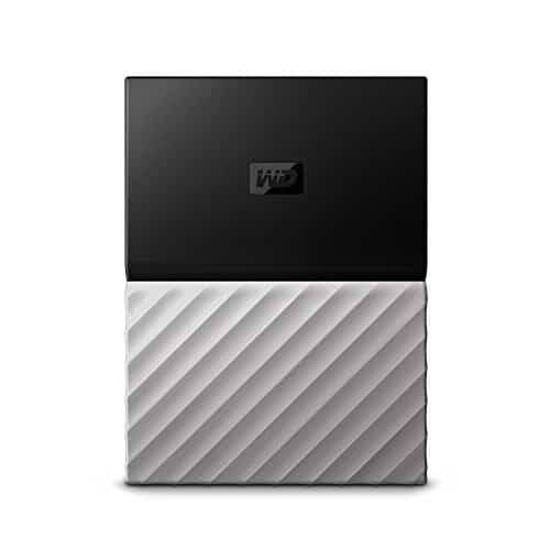 WD My Passport Mobile WDBFKT0020BGY-WESN 2TB Externe Festplatte (6,4 cm (2,5 Zoll), mit Kennwortschutz, Metallic Oberfläche) Schwarz/Grau