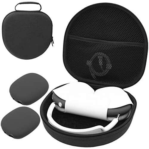 ProCase Hart Kopfhörer Tasche für AirPods Max mit 2 Smart Silikon Schutzhüllen, Hardshell Eva Tragetasche Headset Hülle Case -Schwarz