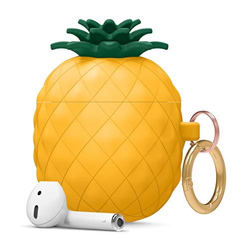 elago Ananas AirPods Hülle Silikon Pineapple Case Kompatibel mit Apple AirPods 2 & 1 – Lustiges und Süßes 3D Cartoon Design AirPods Schutzhülle, Hochwertiges Silikon AirPods Hülle mit Karabiner
