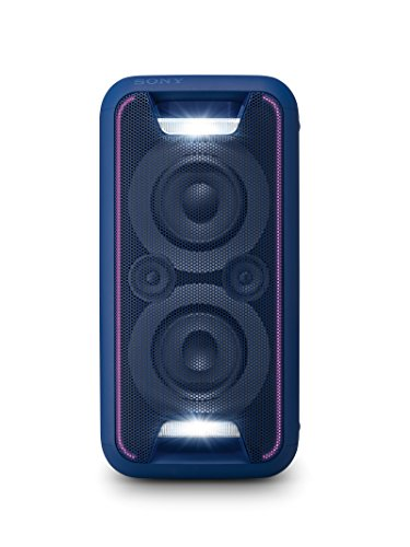 Sony GTK-XB5 leistungsstarkes One Box Party Soundsystem (200 W Ausgangsleistung, Extra Bass, Bluetooth, NFC, Licht und DJ-Effekte) blau
