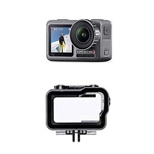 DJI Osmo Action Cam Digitale Actionkamera mit 2 Bildschirmen 11m wasserdicht 4K HDR-Video 12MP 145° Winkelobjektiv Kamera Schwarz + Action Part12 wasserfestes Gehäuse, schwarz/transparent