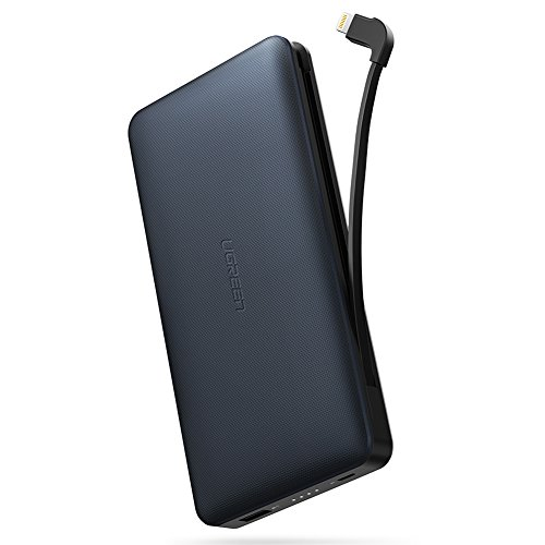 UGREEN Powerbank iPhone X 20000mAh Externer Akku mit integriertem MFI Lightning Kabel und 2.4A USB Port Tragbares Ladegerät für iPhone 8/8 Plus/7/6/SE, iPad Pro,iPad Air usw