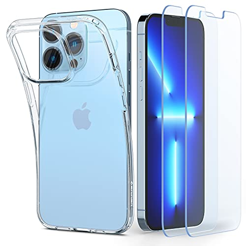 Spigen Crystal Pack Kompatibel mit iPhone 13 Pro Max Hülle 2 gehärtete Gläser enthalten Handyhülle dünn transparent silikon -Crystal Clear