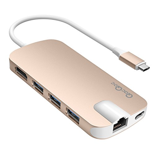 USB C Hub QacQoc USB C Adapter mit Typ C Ladeanschluss, HDMI Port, Gigabit LAN, SD-Kartenleser, Micro SD-Kartenleser, 3 USB 3.0 Port für Typ C Geräte wie MacBook, MacBook Pro, Google Chromebook (Gold)