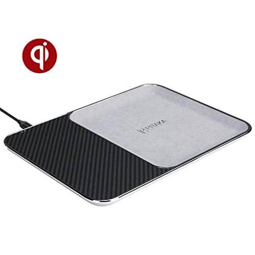 pitaka Air Tray Wireless Charger Schreibtisch Organizer für iPhone,Samsung und Anderen Qi-Fähigen Geräte, Ladegerät Diverses Ablagefach für Zuhause/Büro-Schwarz/Grau