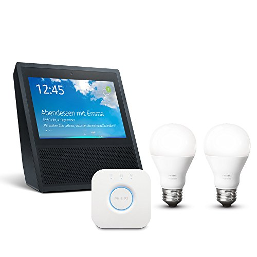 Echo Show (1. Gen.) - schwarz inkl. Philips Hue White E27 Starter Set mit Bridge