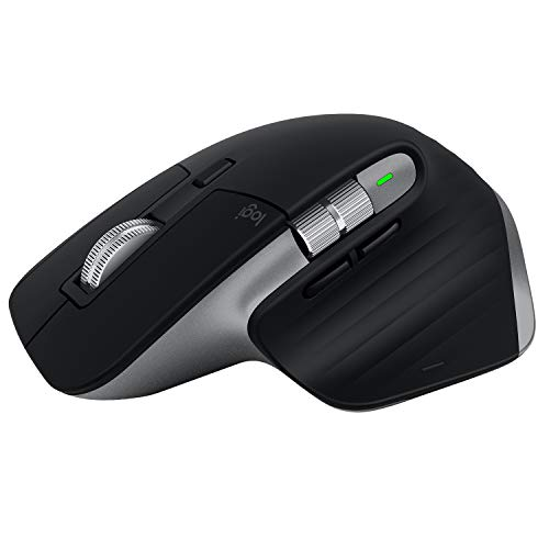 Logitech MX Master 3 Kabellose Maus, Bluetooth und 2.4 GHz Verbindung via USB-Empfänger, 4000 DPI Sensor, Ultra-schnelles Scrollen, Für alle Oberflächen, 7 Tasten, PC/Mac/iPadOS - Dunkelgrau