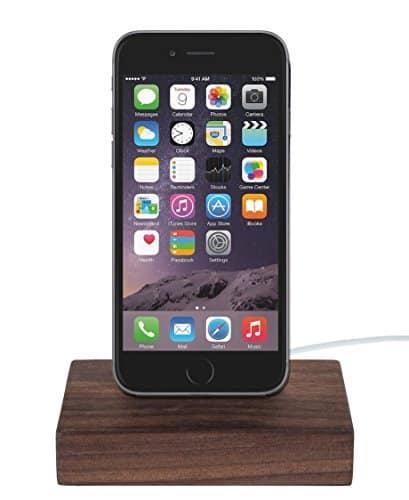 WoodenHP iPhone 7 | iPhone 7 Plus | iPhone 6/6S | iPhone SE | iPhone 5/5S Dock inkl. Lightning Kabel Nussbaumholz Dockingstation