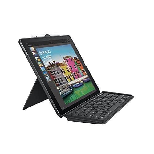 Logitech iPad Pro 12,9Zoll Tastatur-Case (Slim Combo mit abnehmbarer, beleuchteter kabelloser Tastatur und SmartConnector, QWERTZ Deutsches Tastatur-Layout) schwarz