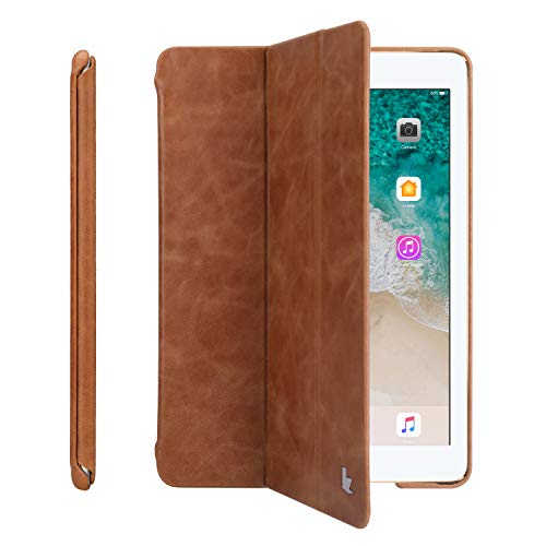 JISONCASE Echtleder Hülle für iPad 2018/2017 9,7 Zoll, Smart Leder Cover für iPad 9,7