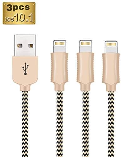 OTISA 3*1.5M iPhone Ladekabel Lightning USB Kabel für Apple iPhone 6 Plus/6 /5/5S/6s iPad 4 iPad Mini/Air iPod 5/ iPod7(Gold)