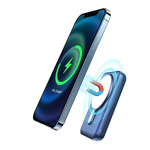 Magnetische 15W Wireless Power Bank 10000mAh, JIGA Tragbares Ladegerät PD 20W mit USB-C Kabel, Geeignet für iPhone 12 / 12Pro / 12 Mini / 12Pro / Max und offizielle magnetische Handyhülle (Blau)