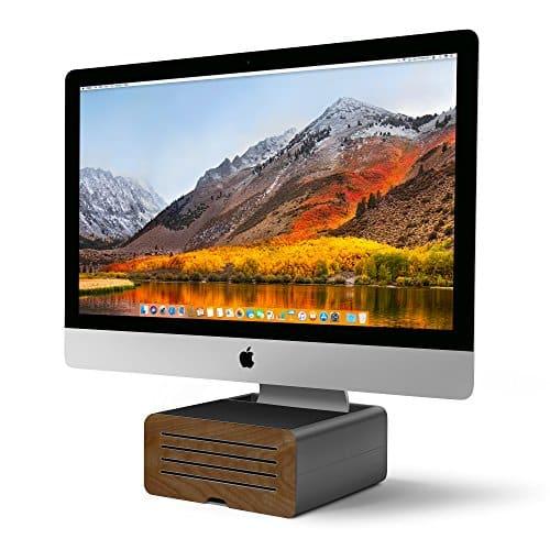 Twelve South HiRise Pro Monitorständer für iMac/Bildschirme | Höhenverstellbarer Bildschirmständer mit Stauraum, doppelseitige Vorderseite und Ledereinlage