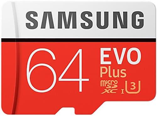 Samsung EVO Plus MicroSDXC Speicherkarte 64 GB UHS Geschwindigkeitsklasse 3, Class 10 (inkl. SD-Adapter) (2017 Modell) [Amazon Frustfreie Verpackung]