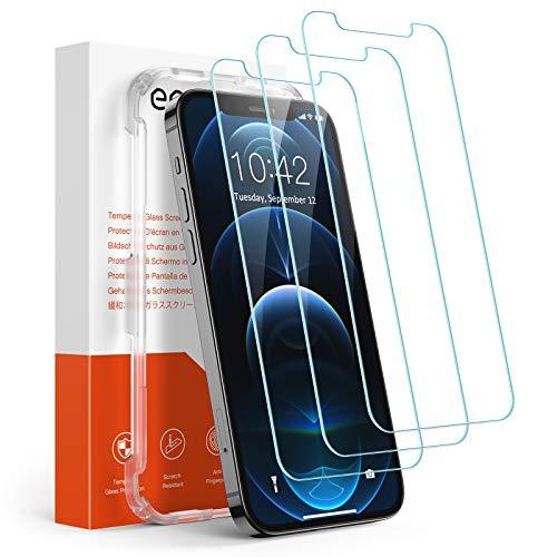 Amazon Brand – Eono [3 Stück] Panzerglas Schutzfolie Kompatibel mit iPhone 12 und iPhone 12 Pro, Anti-Kratz, 9H Härte, HD Displayschutzfolie, Ultra-Klar, Hülle Freundllich, mit Positionierhilfe