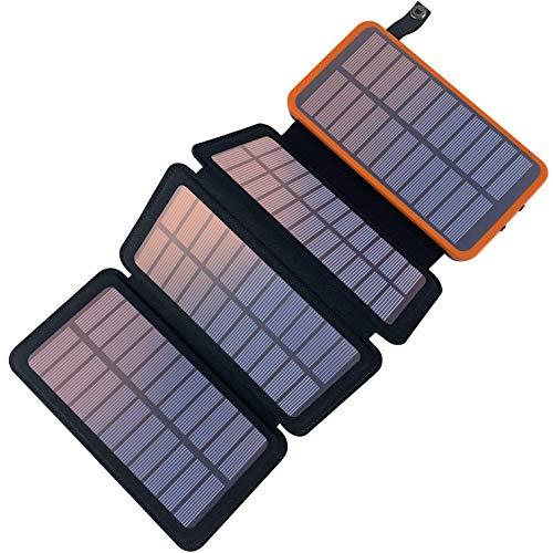 YELOMIN Solar Powerbank 20000mAh Tragbares Solar Ladegerät mit 4 Solarpanels,Outdoor wasserfester externer Akku mit 2 USB Ports für iPhone, Samsung, Android Und Tablet, Kamera usw