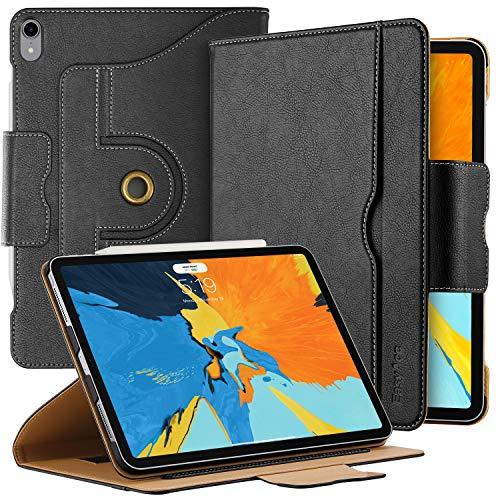 EasyAcc 360 Grad Drehung Hülle für iPad Pro 11 2018, (Kompatible mit Apple Pencil 2) 100% PU Leder Handgefertigt Langlebig, mit Multi-Winkel Standfunktion und Tasche, Auto Wake up/Sleep (Schwarz)