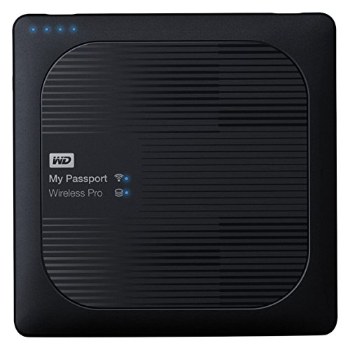 WD My Passport Wireless Pro - drahtlose tragbare 2 TB externe Festplatte (6,4 cm (2,5 Zoll), SD 3.0-Kartenleser, USB Power bank, Wifi, 8 MB, SATA, USB 3.0) WDBP2P0020BBK-EESN schwarz