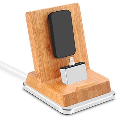 Rerii Bambus iPhone Dockingstation, Ladestation stehen mit Aluminium Basis für iPhone 7 Plus / 7, iPhone SE, 6S Plus / 6S / 6 Plus / 6, 5S / 5, iPad, iPad Air, iPad Mini