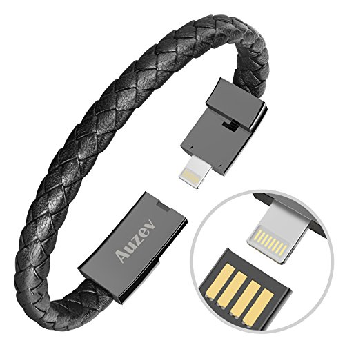 Auzev USB Armband USB Armband Datenleitung Handy Ladekabel Armband Ladeband Kabel Mode doppelt geflochtene Leder Handgelenk Daten Ladekabel für iPhone Plus X iPad usw(M 7.2Zoll Schwarz)