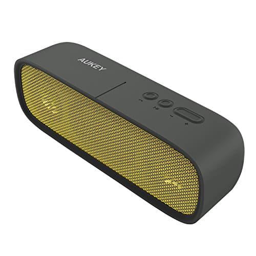 AUKEY Bluetooth Lautsprecher Wasserdicht, Tragbarer Outdoor Lautsprecher mit 14 Stunden Spielzeit, Aux-In und Eingebautes Mikrofon für iPhone, Samsung, HTC, iPad, Tablets usw. (Gelb)