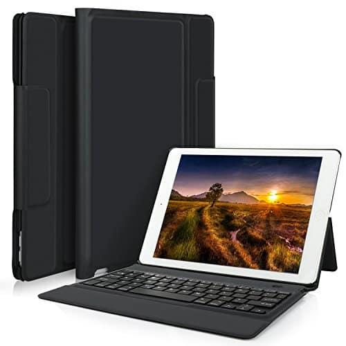 IVSO iPad Pro 12.9 2017 QWERTZ Tastatur, Wireless Bluetooth Tastatur Schutzhülle mit Standfunction Für Apple iPad Pro 12.9 2017 Tablet, Schwarz