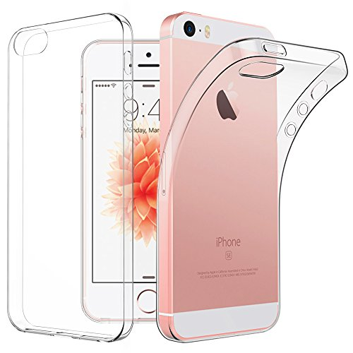 EasyAcc Hülle Case für iPhone SE 5S 5, Dünn Crystal Clear Transparent Tasche Handyhülle Cover Soft Premium-TPU Durchsichtige Schutzhülle Backcover Slimcase Kompatibel mit iPhone SE 5S 5