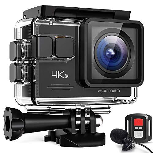 APEMAN Action Cam A79, 4K WiFi 16MP Unterwasserkamera Digitale wasserdichte 40M Helmkamera (2.4G Fernbedienung und Webcam mit externem Mikrofon)