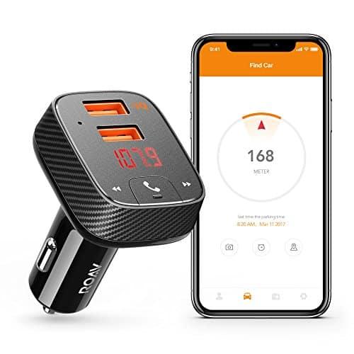 Anker Roav Bluetooth FM Transmitter mit Auto Finder Auto Ladegerät 24W/4.8A, SmartCharge Car Kit F2 mit Freisprecheinrichtung/ GPS Tracker App für iOS und Android Geräte