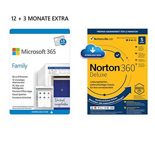 Microsoft 365 Family 12+3 Monate   6 Nutzer   Mehrere PCs/Macs, Tablets & mobile Geräte   Download Code + NORTON 360 Deluxe   5 Geräte   15 Monate mit Automatischer Verlängerung  Download Code