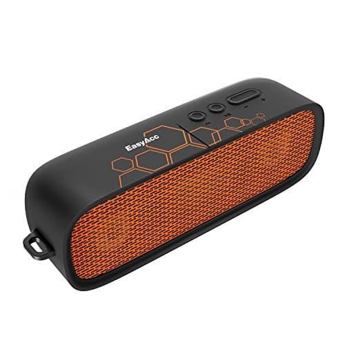 EasyAcc Portable Bluetooth 4.1 Lautsprecher mit Mikrofon und AUX Funktion, Dual Treiber & 15 Stunden Wiedergabedauer , Schwarz/Orange