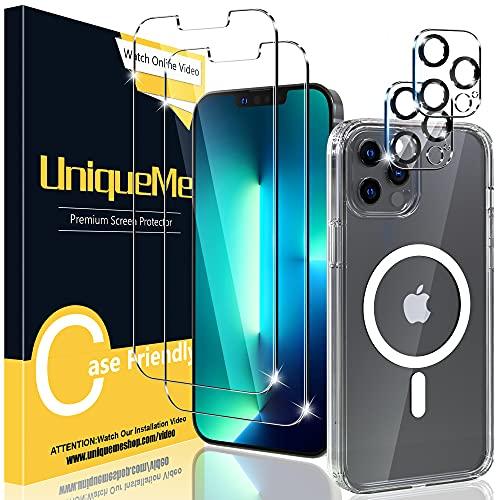 UniqueMe [1+2+2] 1 Stück Magnetisch Hülle für iPhone 13 pro max (6.7 Zoll), 2 Stück Schutzfolie und 2 Stück Kamera Panzerglas,[Kratzfest][Anti-Blase] Klar Glas Displayschutz