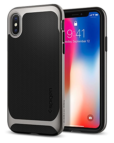 Spigen iPhone X Hülle, [Neo Hybrid] Doppelschichter Schutz 2-teilige Silikon PC Dual Layer Schutzhülle für iPhone X Case Gunmetal (057CS22165)