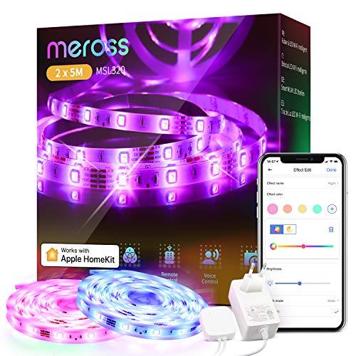 WLAN LED Streifen funktioniert mit Apple HomeKit, meross Smart RGB Strip, 12V IP20 Streifenbeleuchtung, Flexibel DIY Band Arbeiten mit Siri, Alexa und Google, für Weihnachten, Party, 5M x2