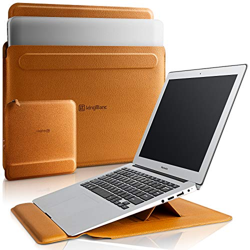 KingBlanc Laptop Hülle Tasche für 13-13.3 Zoll, 3-in1 PU Lederständerhülle mit Stand-Funktion&Handgelenkauflage für MacBook Air/MacBook Pro 13-13,3 Zoll mit kleine Tragetasche (Braun)