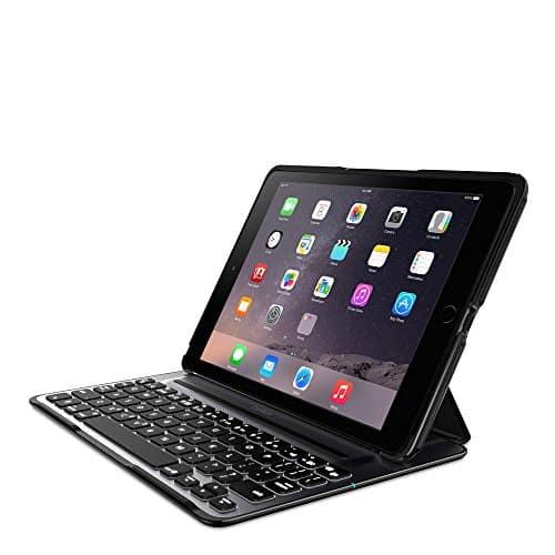 Belkin QODE Ultimate Pro Bluetooth Tastatur mit Hülle (geeignet für das iPad Air 2) Schwarz/Silber